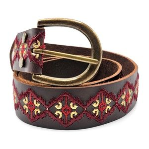 Lucky Brand brown red embroidered geo boho belt